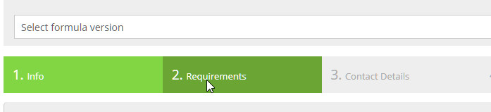 product requirements tab