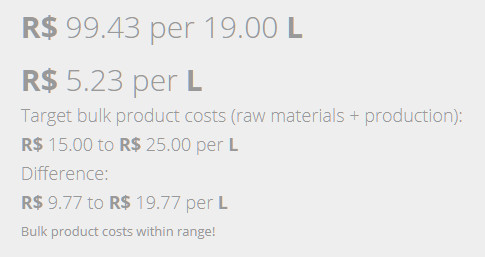 cosmetic product cost calculations